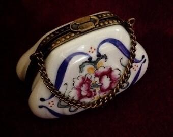 """Elegant Limoges Hand Painted """"Peint Mein"""" Miniature Trinket Purse"""