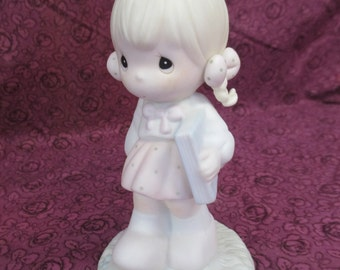 Vintage 1988 retired September Precious  Moments figurine By Samuel J  Butcher #  110086 used good   condition