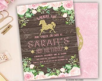 horse birthday invitation, floral birthday invite, pink and gold horse birthday invitation, horse invitation, pony invitation, digital file