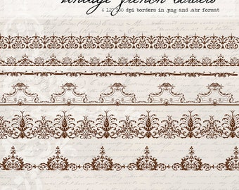 Vintage French Borders, digital clip art and photoshop brushes: Commercial and Personal Use