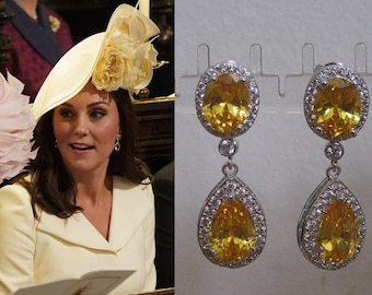 Kate Middleton Duchess of Cambridge Inspired Replikate Yellow Oval Citrine Silver Drop Crystal Earrings Bridal Royal Wedding