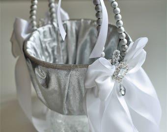 Silver Wedding Basket + Silver Ring Bearer Pillow \ Silver Flower Girl Basket + Silver Wedding Pillow  Silver White Bearer Pillow basket Set