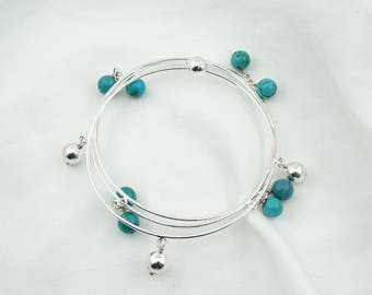 Set Of 3 Sterling Silver and Turquoise Bangle Bracelets  #THREE-BB4