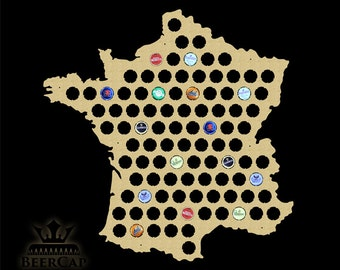 France Beer Cap Map, Beer Cap Map, Bottle Cap Map, Beer Cap Holder, Beer Cap Display, Gift, Christmas Gifts, Decor, All Countries Available