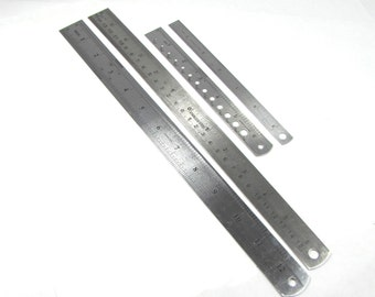4 Stainless steel Inch and millimeter rulers pack plus zero center rule and drill bite sizer