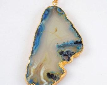Electroformed Gold BLUE Agate Slice Pendant - 69x38x5mm - Energy Enhances Mental Function, Promotes Self-Acceptance, Remove Negativity