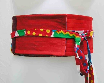 SALE! Red Obi belt, plus size obi, plus size sash belt, plus size wrap belt, obi belt, red belt, upcycled belt, reversible belt, fabric belt