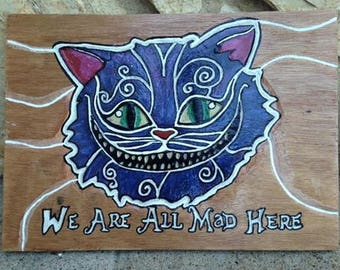 table wood cheshire cat (alice in Wonderland country)