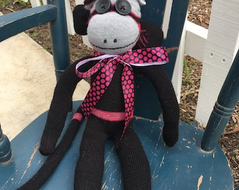 Hot Pink, Gray and Black Sock Monkey