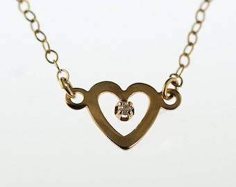 SALE Gold Filled and Diamond Tiny Heart Necklace