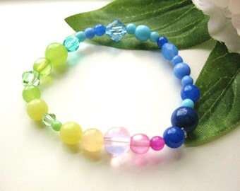 Girls Bracelet, Rainbow Colors, Beaded Stretch Bracelet, Medium, GBM 169