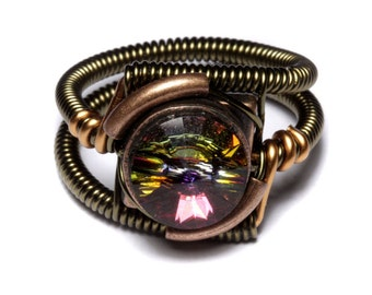 Steampunk Jewelry - Ring - Volcano Swarovski Crystal