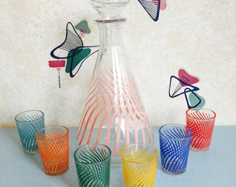 1960s - French - Glass - Decanter - Shot Glasses
