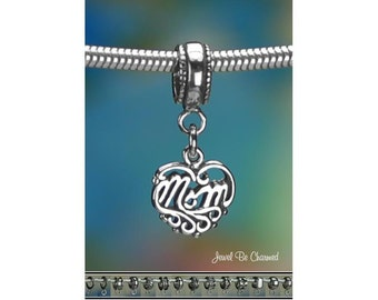 Sterling Silver Mom Charm or European Style Charm Bracelet Heart .925