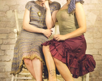 retro clothing - womens knit dress - prom - striped dress - french chic - unique dress - avantgarde dress