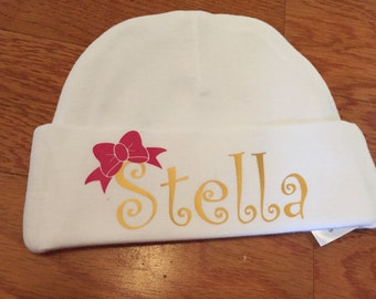 Personalized Baby Hat. Baby Girl Hat. Personalized Beanie Hat. Glitter Hat. Newborn Hat with Name. Newborn Hat. Personalized Newborn Hat.