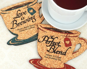 Wedding Favor Coasters, Personalized Tea Cup Shaped Cork Coaster - Set of 12