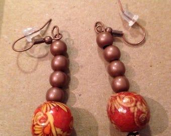 Wood beads ear rings