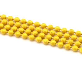 """5 Pk - 28"""" Banana Yellow Necklaces - 2.4mm Ball Chain Necklaces - 28 Inch Adjustable Length - With Clasps - Dog Tag Pendant Craft Jewelry"""