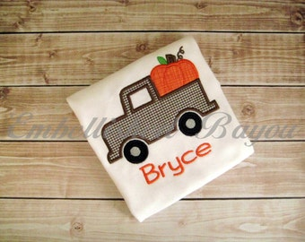 Fall Truck with Pumpkin Applique T-shirt or Onesie Bodysuit for Girls or Boys Personalized