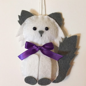 Cat Ornament - Personalized Ornament - Cat Gift - Felt Ornament - White Cat  - Kitten