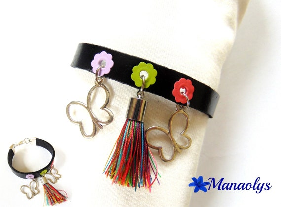 Black genuine leather, silver Butterfly charm and multicolored tassel bracelet