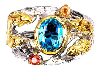 A ring of Creatures! London Blue Topaz, Sapphire Gems .925 Sterling Silver, Gold