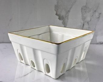 Ceramic Berry Bowl, Hostess Gift, Wedding Decor, White and Gold Tableware, Wedding Gift