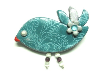 Brooch Bird polymer clay stamped turquoise/grey WOMEN ACCESSORIES handmade jewelry by artefyk
