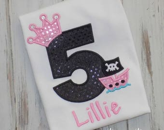 Pirate Princess Birthday Shirt, Girl Pirate Birthday shirt, Princess Pirate birthday shirt, Princess Pirate shirt, sew cute creations