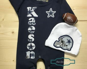 Cowboys baby etsy dallas cowboys personalized baby romper and hat set cowboys baby outfit personalized baby negle Choice Image