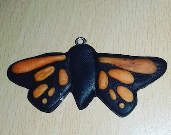 Polymer clay butterfly necklace and key charm