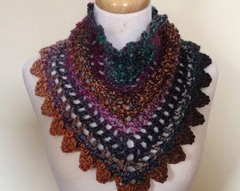 Buttoned triangular crochet bandana style scarf, cowl, neck warmer for ladies, teens, festival wear, boho, alternative - various colours