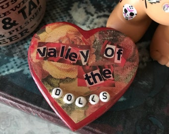 Valley of the Dolls Vintage Rose Heart Shaped Trinket Box
