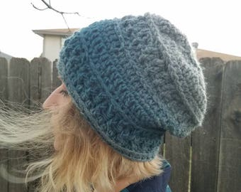 Women's winter hat // gray & teal // comfy textured hat// Ready to Ship// beanie// gift