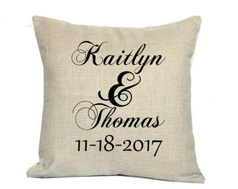 """Wedding Pillow Cover - Wedding Pillow - 18"""" Personalized Decorative Pillow - Newlywed Gift"""