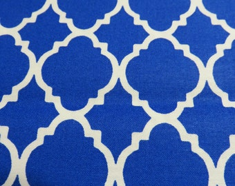 Bold Royal Blue and White Quatrefoil Pattern-Priced Per 1/2 Yd-Free Shipping