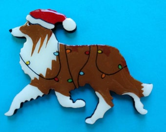 Sheltie Christmas Pin, Magnet or Ornament-Color Choice-Hand Painted-Shetland Sheepdog-Free Shipping- Free Personalization Available
