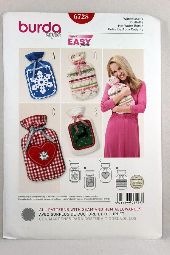 Burda 6728, Hot Water Bottle Cover Sewing Pattern, Decorative Hot ...