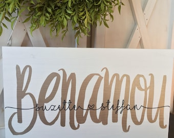 Wedding  Wood Sign, Rustic Wedding Sign with Names and Anniversary Date, Last Name Wooden Sign, Personalized Wedding Gift, Wedding Shower