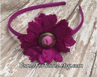 CLEARANCE Magenta Purple Flower Headband, Flower Hair Accessory, Adult Basic Headband, Wine Hair Accessory, Flower Girl, Bridesmaid Hair Bow