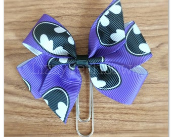 Purple Batman inspired bow Planner clip, bookmark, planner bow clip, super hero, dark, knight, bat signal, bat man
