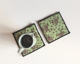 asia zen set of mug rugs - floral set of 2x - hostess gift - yoga teacher gift - floral green and brown mug rugs - mothersday gift