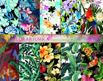 Hawaii Parrots Download  Floral Pattern Digital Papers  leaves Scrapbook Download  Orchid Download Patterns Scrapbook Digital Printable F184