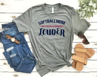 Softball Mom T Shirts - Like a Regular Mom But Louder - Momlife Softball Short-Sleeve Unisex T-Shirt