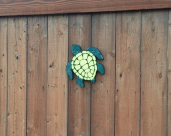 Sea turtles, turtles, tile mosaic art, fence decoration, fence ornaments, yard art, garden decor