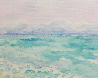 Hand Painted, Wall Art, Canvas Painting, Blue, Ocean, Art, Home Decor, Pink Sky