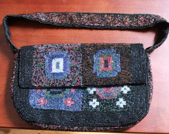 1990s Geometric Beaded Handbag