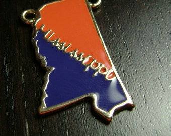 Red and Blue Enamel Mississippi Pendant