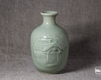 Tokkuri with Celadon glaze - sake bottle - vintage *0547